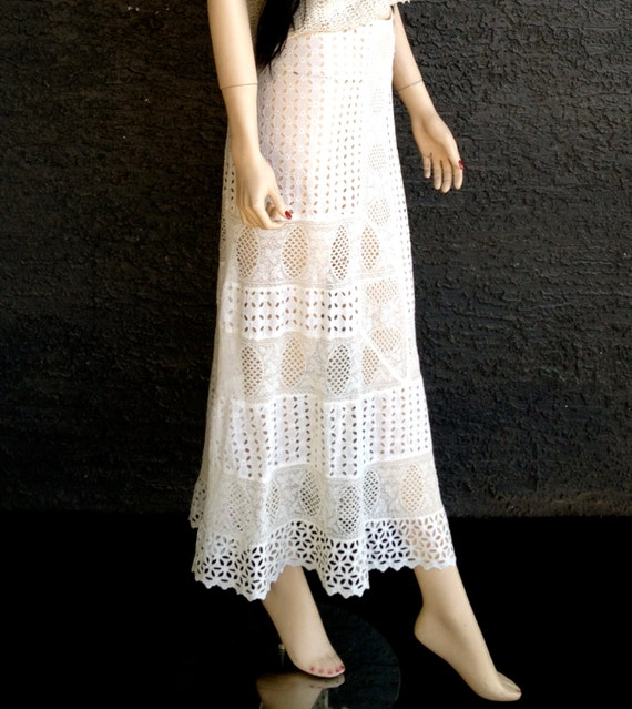30s Sheer Ivory Lace Maxi Skirt