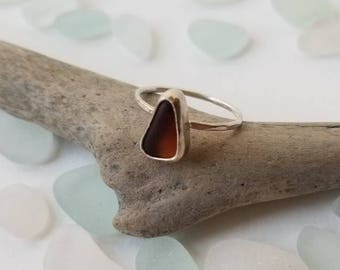 SALE Brown Sea Glass Sterling Ring, Size 8