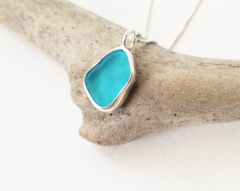Turquoise Sea Glass Sterling Necklace
