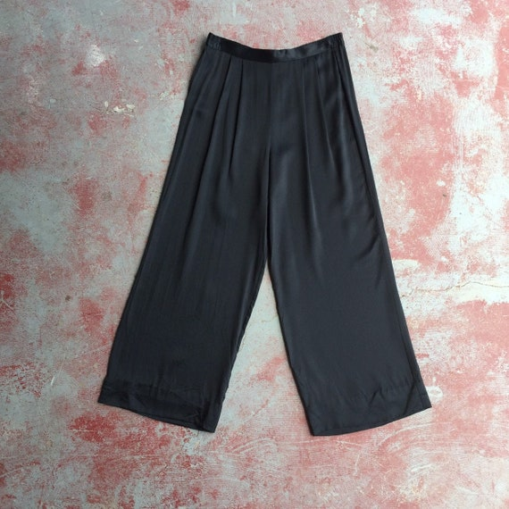 80's wide leg satin high waist pants • M / L