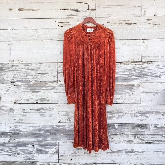 70's crushed velvet dress • S / M