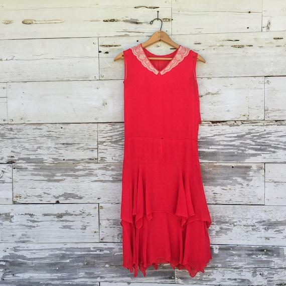 20's chiffon & lace dress • XS / S • red • ruffled - image 2