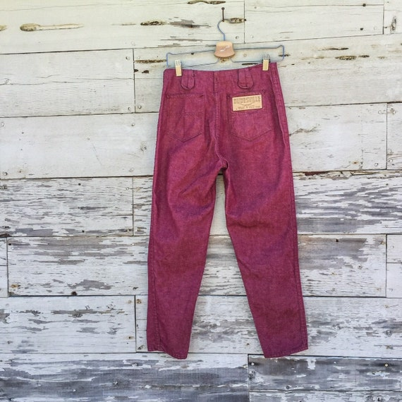70s deadstock jeans • S • 28 • burgundy