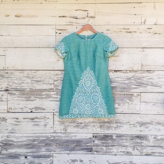 60's embroidered micro mini sun dress • S