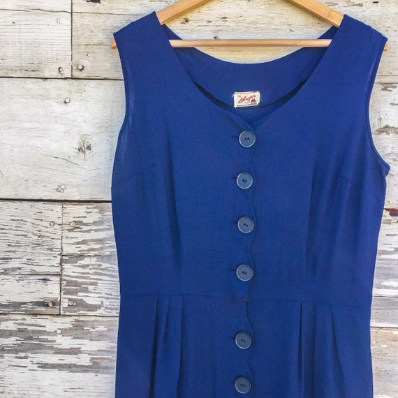 40's / 50's scalloped sun dress with pockets • L /