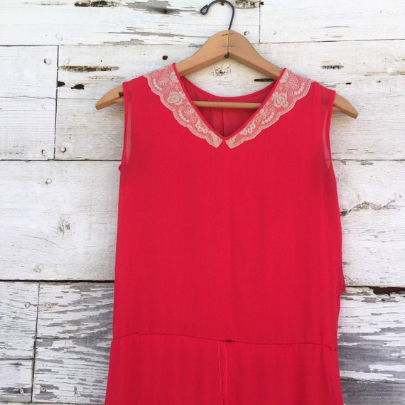 20's chiffon & lace dress • XS / S • red • ruffled