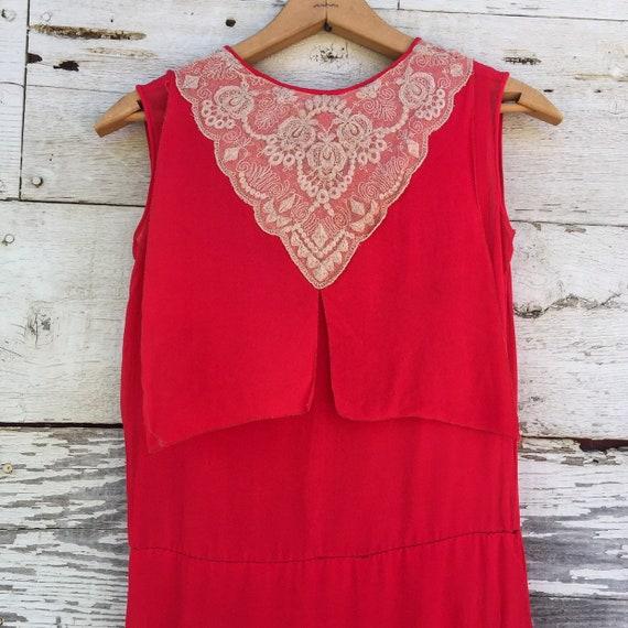 20's chiffon & lace dress • XS / S • red • ruffled - image 4