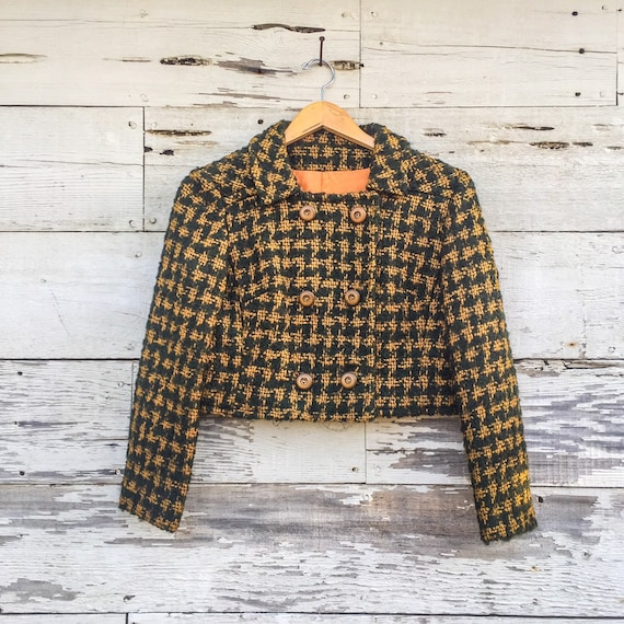 50s / 60s cropped wool jacket • XS / S • double br