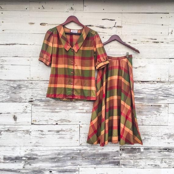 70's 2 piece plaid shirt dress set • S