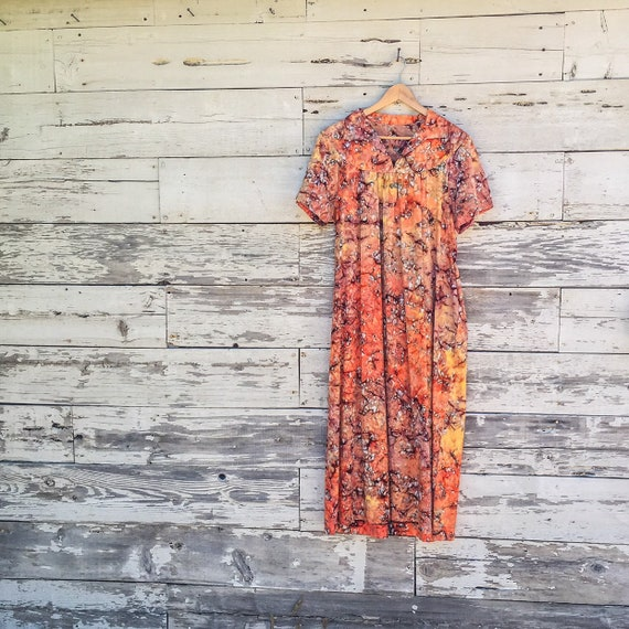 60's marbled abstract floral tie dye caftan • sun