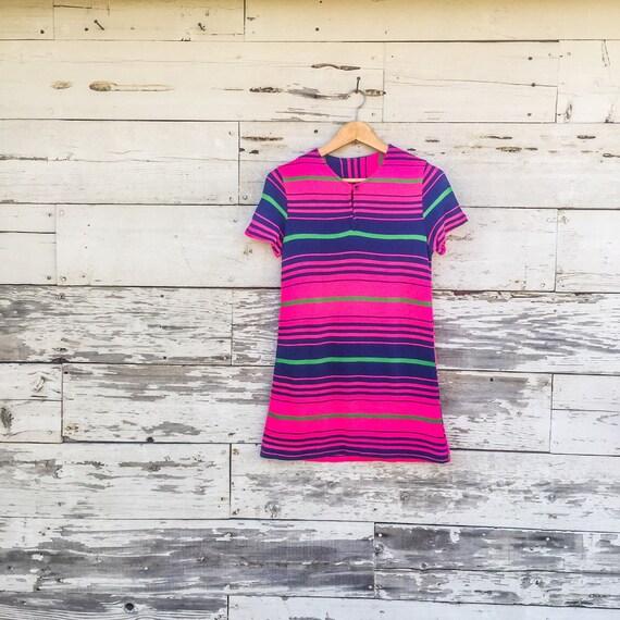 60's neon striped mini dress • XXS / XS