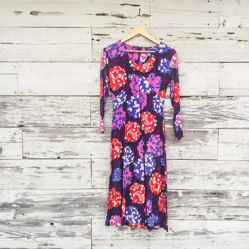 70/'s bold floral scoop neck dress \u2022 XS  S