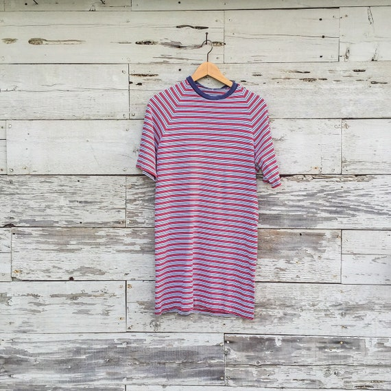 50's / 60's striped shirt dress • S / M • cotton t
