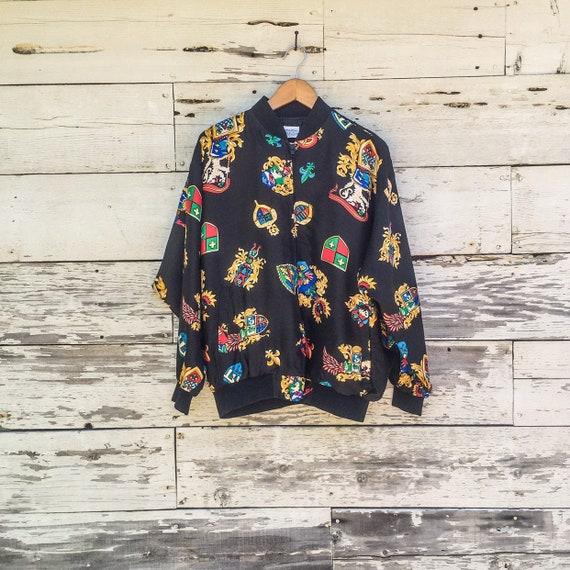 90's printed silk bomber jacket • OSFM • S / M / L