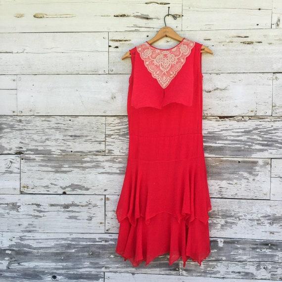 20's chiffon & lace dress • XS / S • red • ruffled - image 3