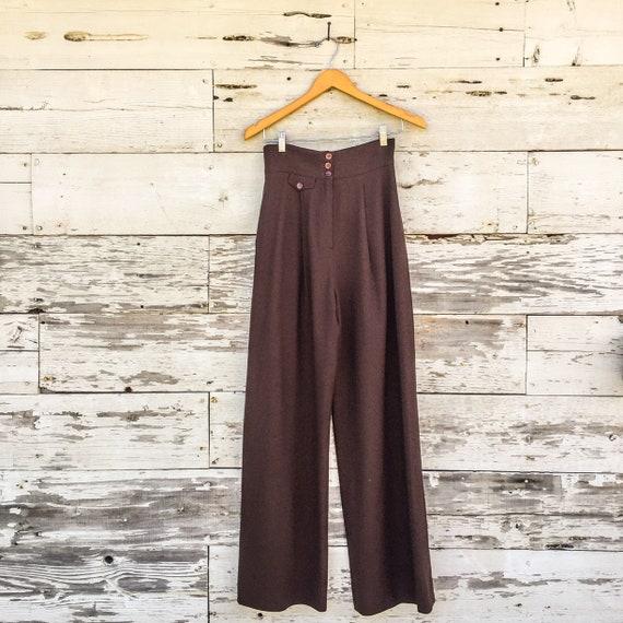 90's ultra high waist wide leg trousers • XS / S