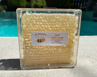 """4.5""""x4.5"""" square box of Orange Raw Honeycomb-Unfiltered, Wholesome, Grade A"""
