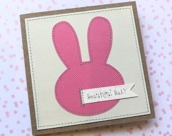Pink baby card / handmade newborn baby card / pink rabbit