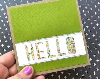 Handmade card / floral hello blank card / birthday / all occasions card