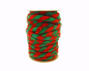 Spool of Red & Green Chenille Wired Garland - 6.5 Yards