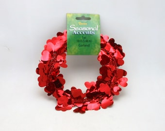 Red Holigrahpic Wired Valentine Heart Garland - 18 ft.