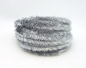 Roll of Metallic Silver Wired Tinsel Garland - 25 Feet