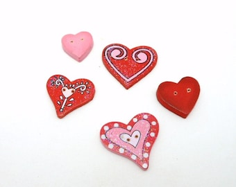 5 Wooden Painted Two-Holed Heart Buttons