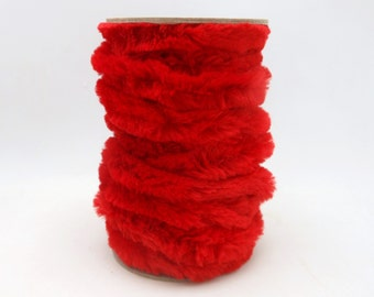 Spool of Red Chenille Wired Ribbon / Garland - 9.5 Yards