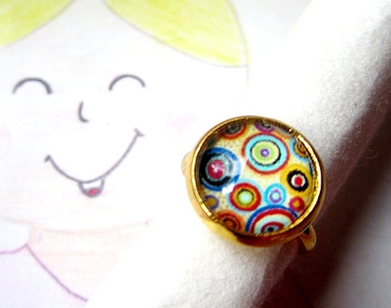 small Children/'s Ring circles 14 mm circles colourful children/'s jewellery