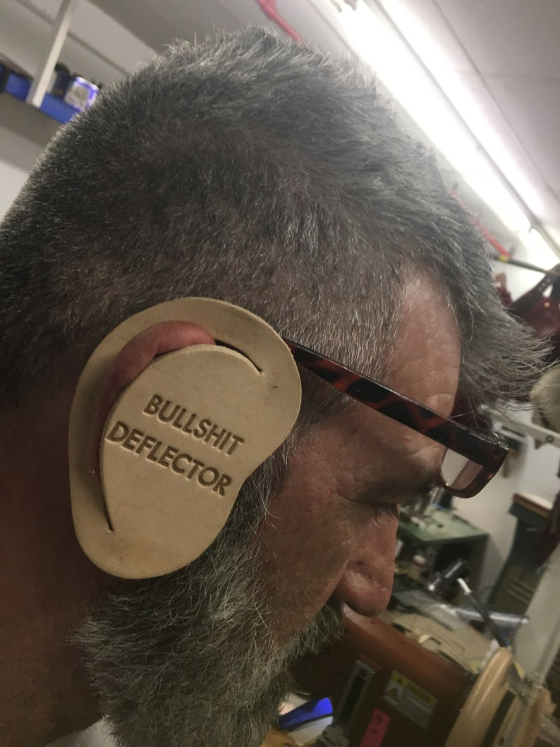 LEATHER BULLSHIT DEFLECTOR  Political Ear Protection  2  image 0