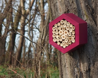 BEE HOTEL, Insect house, Mason bee home - Hotel Burgundy