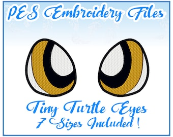 PES Tiny Turtle Eyes embroidery files Instant Download- more formats available!