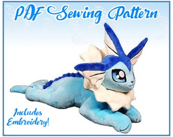 Floppy Vaporeon Plush PDF Sewing Pattern (EMBROIDERY INCLUDED)