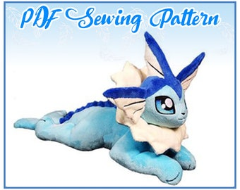 Floppy Vaporeon Plush PDF Sewing Pattern