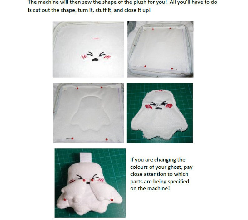 ITH Embroidery Pattern-Ghost Plush (PES and JEF files included)