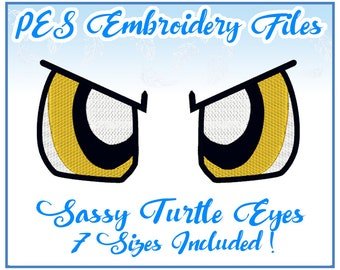 PES Sassy Turtle Eyes embroidery files Instant Download- more formats available!