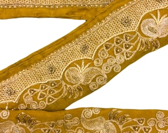 Vintage Sari Lace Border Trim Embroidered Sewing Antique Ribbon Lace 1 Yd ST1857