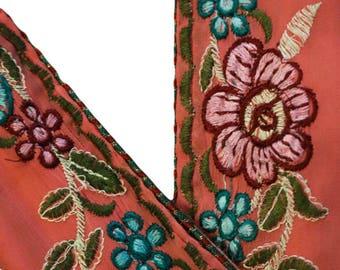 Indian Sari Border Women Antique Sari Trim Ribbon Hand Embroidered ST1586