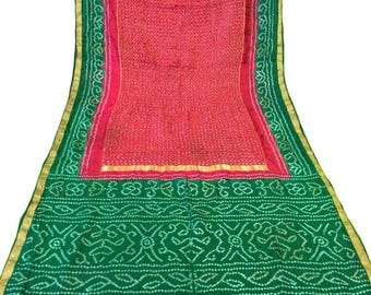 4b5b5c182c Vintage 100% Pure Silk Sari Saree Gold Zari Indian Printed Fabric Antique  Sarong Wrap Traditional Green Red Bandhani Wedding Dress PSS1223