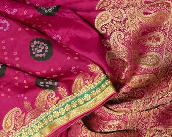 Vintage Indian Pure Silk Saree Printed Red Sari Recycled Sarong Woman Clothing Wedding Dress Material Long Curtain Ethnic Textile