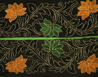 Vintage Saree Border Indian Craft Trim Antique Embroidered Ribbon Lace Green