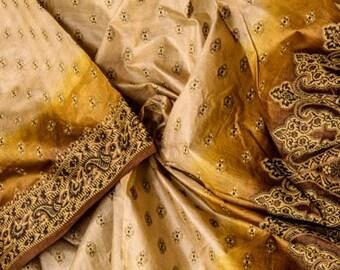Vintage Indian Pure Tussar Silk Saree Hand Woven Ethnic Sari Long Curtains Fabric Tossor Textile Tushar Tusser Sarong Dress Wrap TSS1909