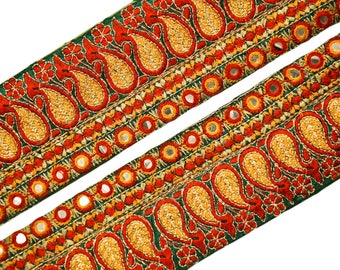 Vintage Sari Lace Border Trim Embroidered Sewing Antique Ribbon Lace 1 Yd ST1965