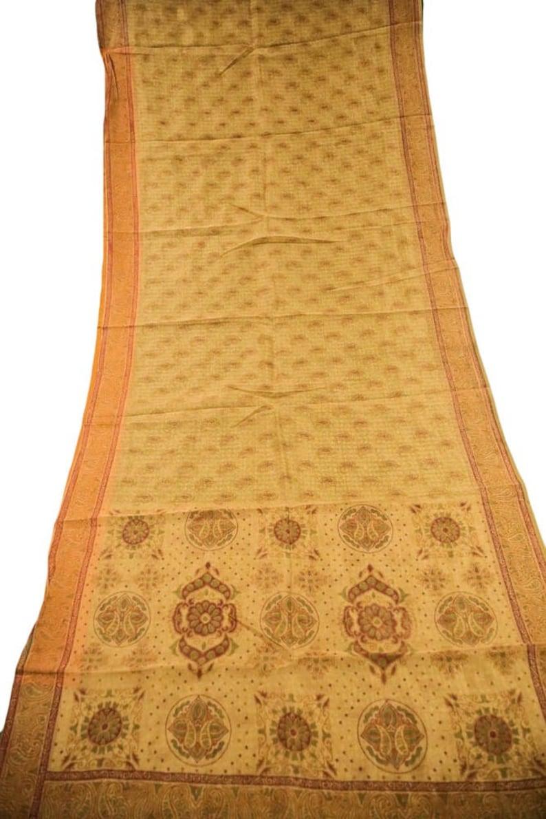 Vintage Indian Cotton Saree India Wedding Dress Wrap Decor Fabric Recycled Long Curtain Drape Sarong Sari Traditional Ethnic Cream PCS1365