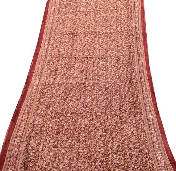 Vintage Indian Pure Silk Saree Christmas Printed Gift Printed Christmas Maroon Silk Wrap Dressmaking 5 Yard Sari Used Fabric Silk Sarong PSS6772 ba6946