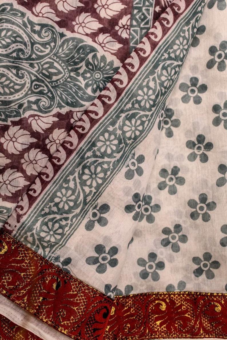 Vintage Saree 100/% Pure Cotton Fabric Saree 5YD White Sari Antique Sarong Wrap Traditional PCS3163