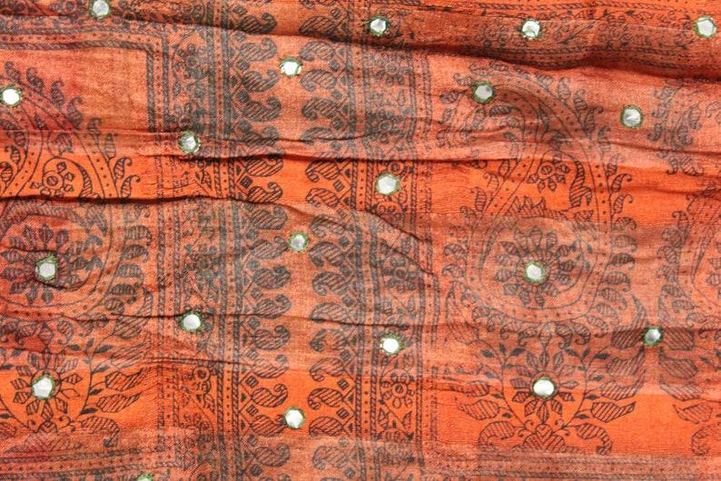 Vintage Indian Pure Silk Saree Printed Fabric Sari Recycled Sarong Woman Clothing Wedding Dress Material Long Curtain Ethnic Antique PSS8062