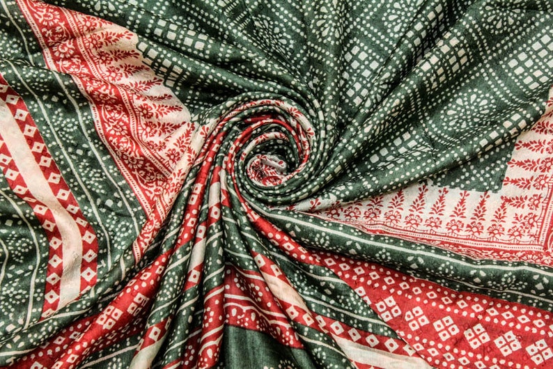 Vintage Indian Pure Silk Saree Wrap Sarong Printed Sari Ethnic Traditional Textile Recycle Fabric Recycle Clothing Dress Material PSS11547