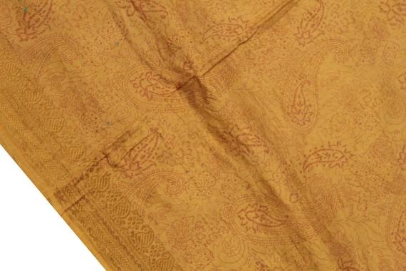 Vintage Indian Christmas Pure Silk Saree Christmas Indian Gift Printed Brown Silk Wrap Dressmaking 5 Yard Sari Used Fabric Silk Sarong PSS6700 fb9a97