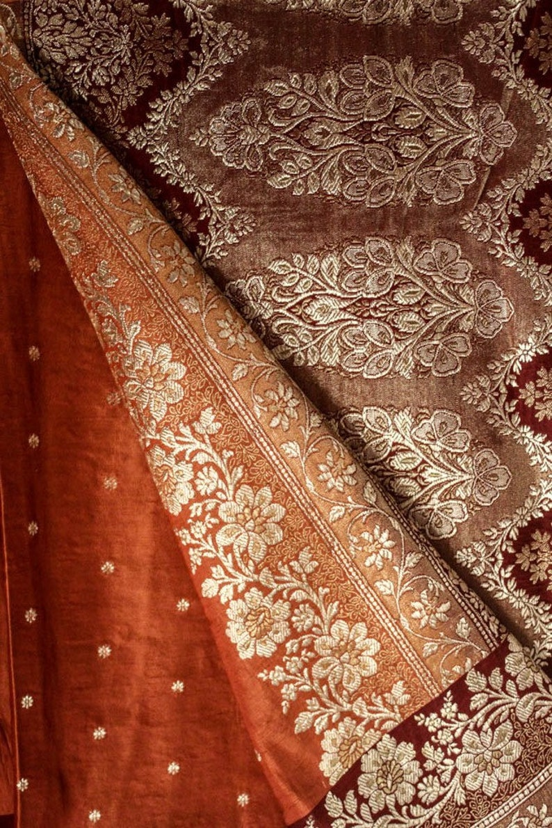 Vintage Indian Pure Silk Saree Antique Zari Embroidered Sari Ethnic Traditional Textile Wedding Woman Dress Fabric Recycle Wrap PSS10825